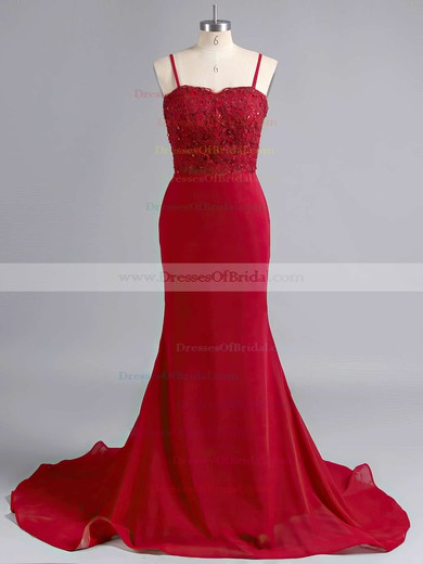 Sheath/Column Jersey Sweep Train Appliques Lace Beautiful Bridesmaid Dresses #DOB010020102223