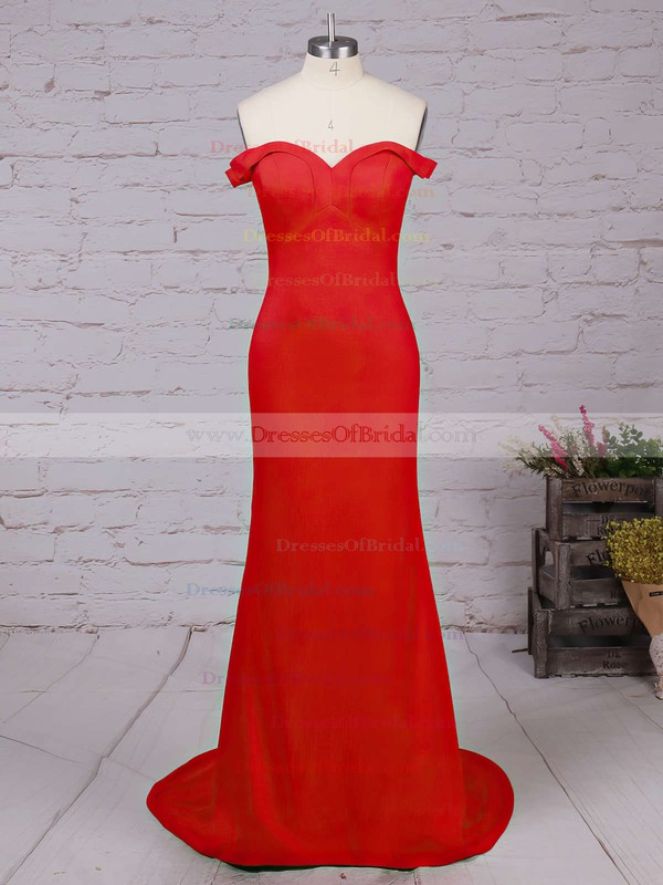 Sheath/Column Off-the-shoulder Red Silk-like Satin Ruffles Modern Bridesmaid Dresses #DOB010020102332