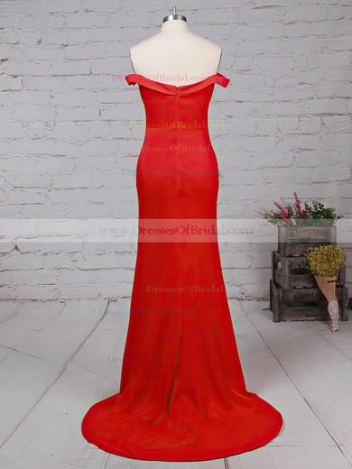 Sheath/Column Off-the-shoulder Red Silk-like Satin Ruffles Modern Bridesmaid Dresses #DOB010020102332