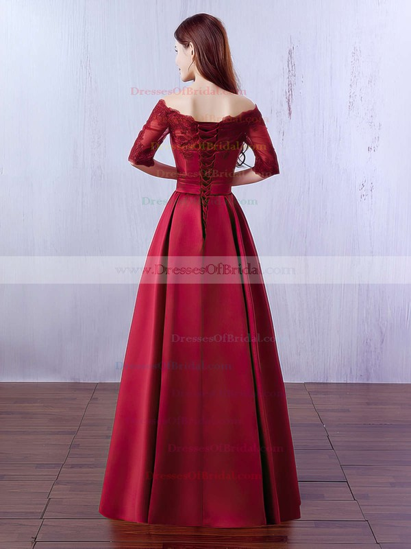 A-line Off-the-shoulder Satin Floor-length Appliques Lace Burgundy Bridesmaid Dresses #DOB010020102406