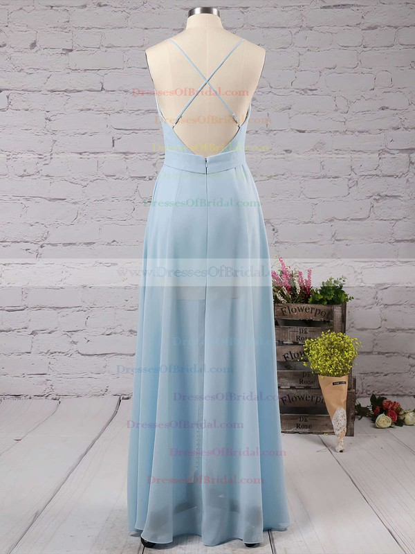 Backless A-line V-neck Chiffon Floor-length Split Front Cheap Bridesmaid Dresses #DOB010020102501