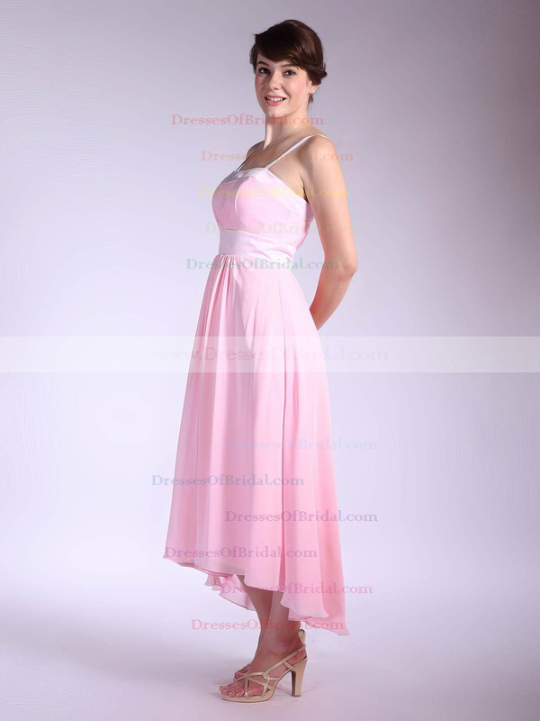 Square A-line Asymmetrical Chiffon Pleats Bridesmaid Dresses #DOB01012034