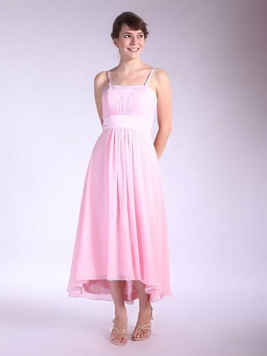 Square A-line Asymmetrical Chiffon Pleats Bridesmaid Dresses #DOB01012034