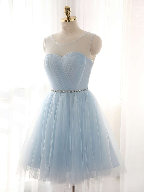 Pretty A-line Scoop Neck Tulle Short/Mini Beading Light Sky Blue Bridesmaid Dresses #DOB010020102518