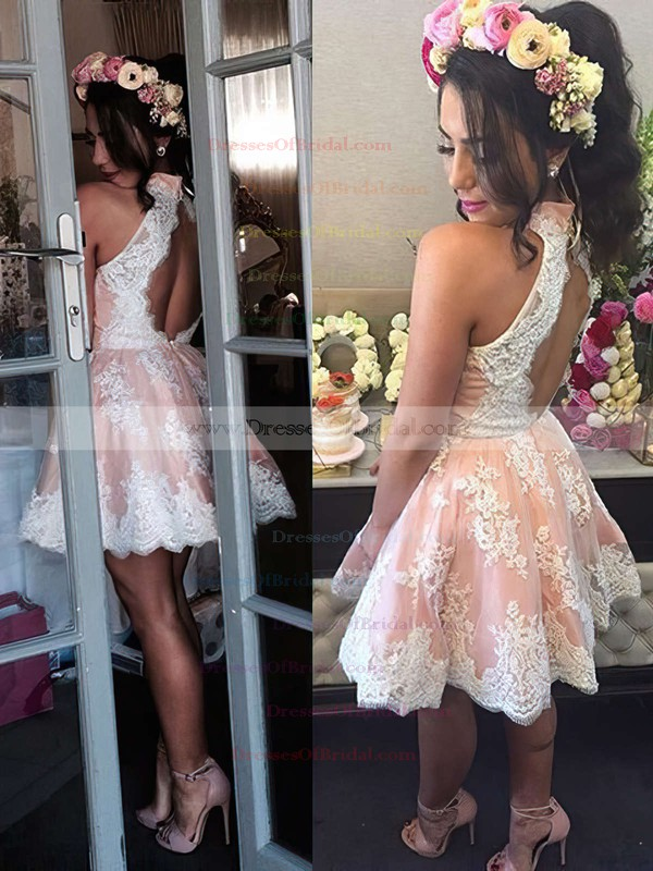 A-line High Neck Best Lace Short/Mini Flower(s) Open Back Bridesmaid Dresses #DOB010020102525