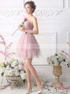 Princess One Shoulder Tulle Short/Mini Sashes / Ribbons Fashion Bridesmaid Dresses #DOB010020102533