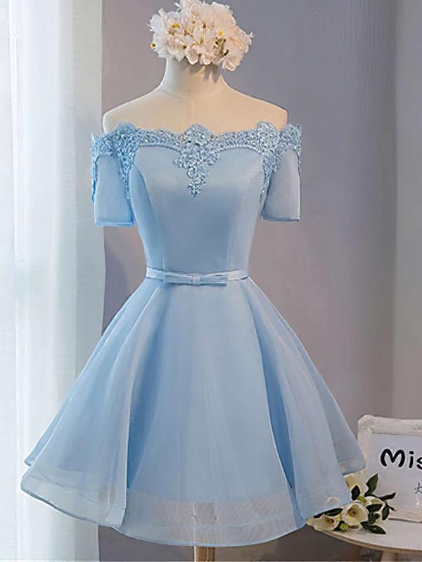 A-line Off-the-shoulder Satin Organza Short/Mini Sashes / Ribbons Bridesmaid Dresses #DOB010020102547