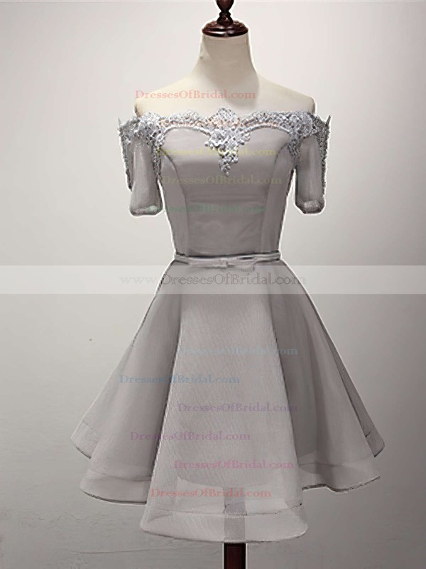 A-line Off-the-shoulder Satin Organza Short/Mini Sashes / Ribbons Bridesmaid Dresses #DOB010020102547