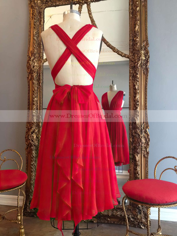 Hot A-line V-neck Chiffon Knee-length Ruffles Red Backless Bridesmaid Dresses #DOB010020102648