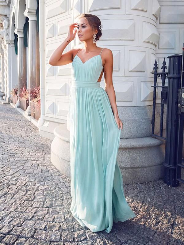 Unique A-line V-neck Chiffon Floor-length Ruffles Backless Bridesmaid Dresses #DOB010020102734