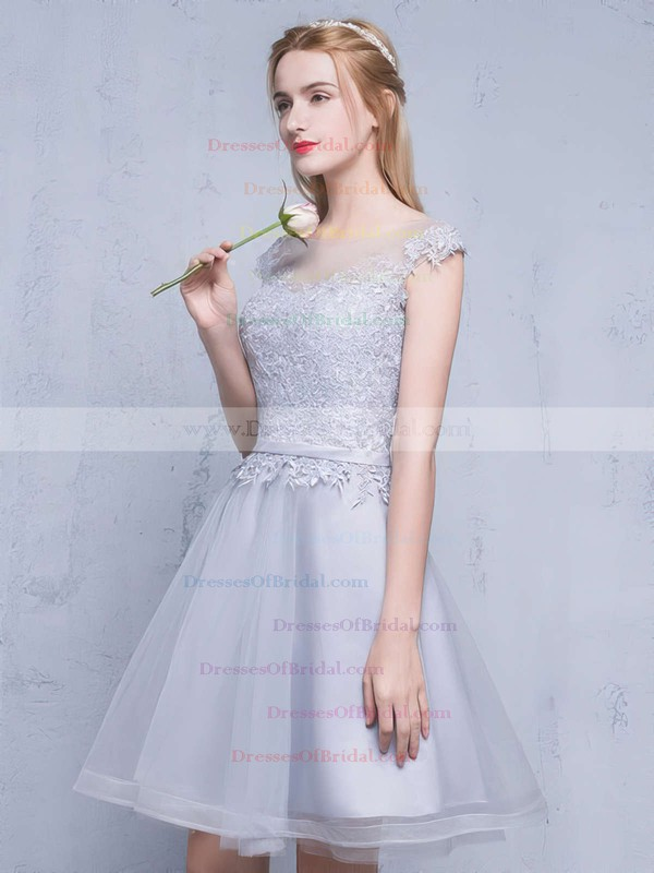 A-line Scoop Neck Tulle Short/Mini Appliques Lace Pretty Bridesmaid Dresses #DOB010020102753
