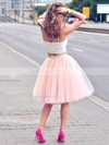 Two Piece A-line Sweetheart Tulle Knee-length Ruffles Trendy Bridesmaid Dresses #DOB010020102755