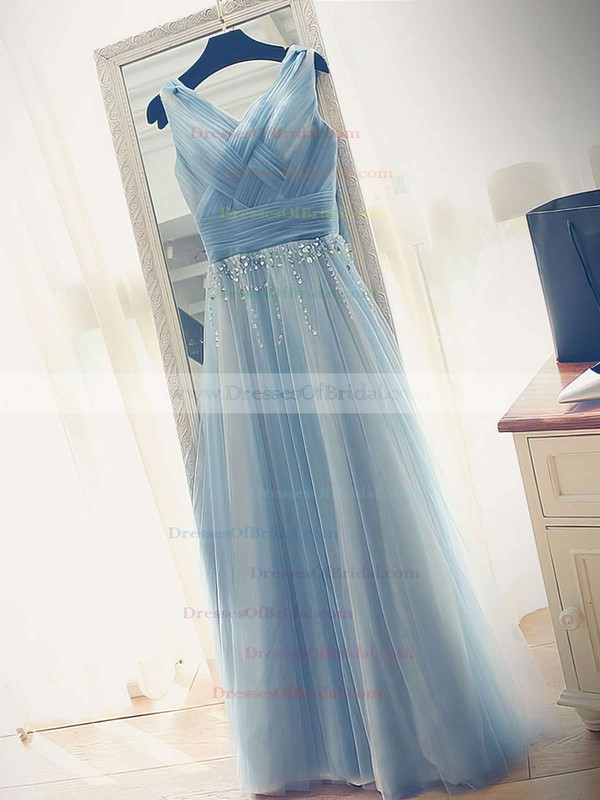 A-line V-neck Tulle Floor-length Beading Glamorous Bridesmaid Dresses #DOB010020102764