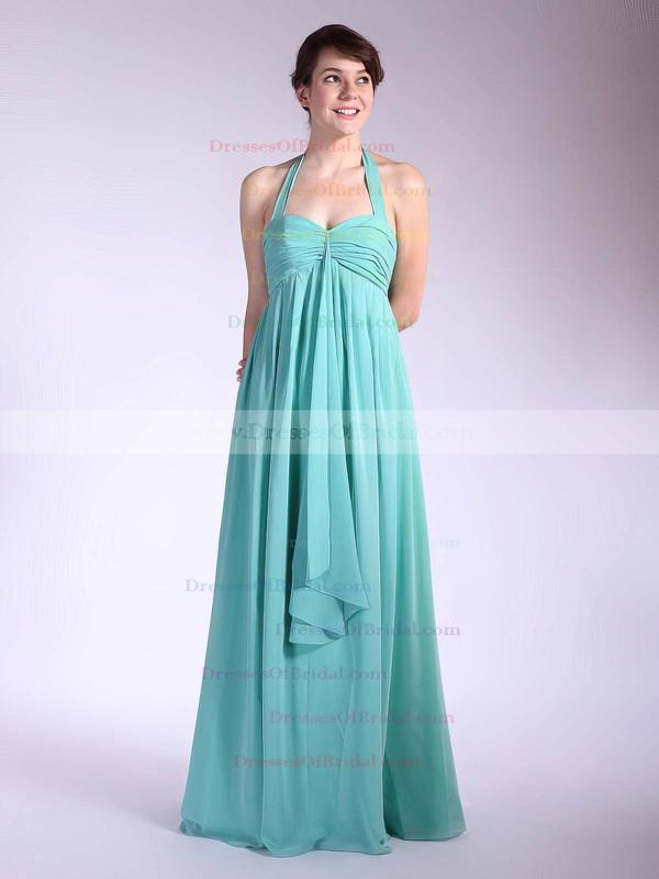 Halter Empire Floor-length Chiffon Pleats Bridesmaid Dresses #DOB01012035