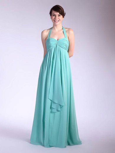 Halter Empire Floor-length Chiffon Pleats Bridesmaid Dresses #DOB01012035