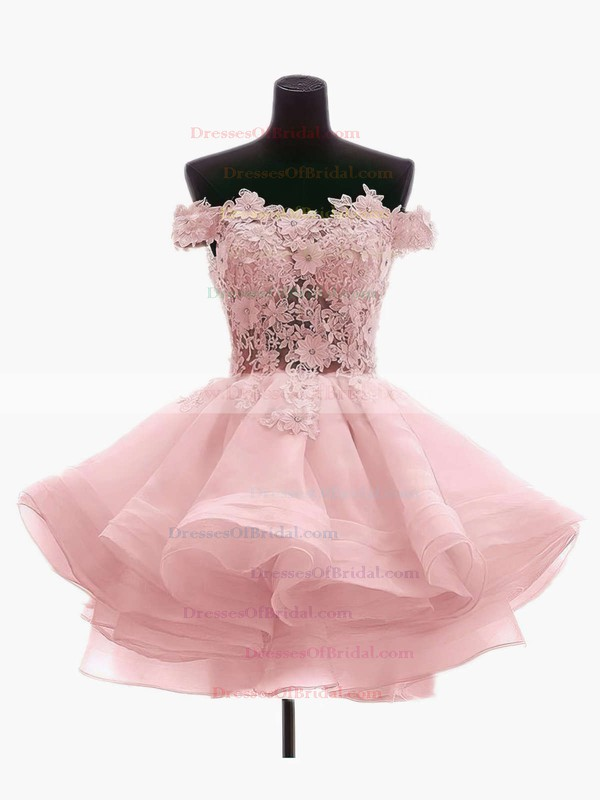 Princess Off-the-shoulder Organza Tulle Short/Mini Appliques Lace Cute Bridesmaid Dresses #DOB010020102801