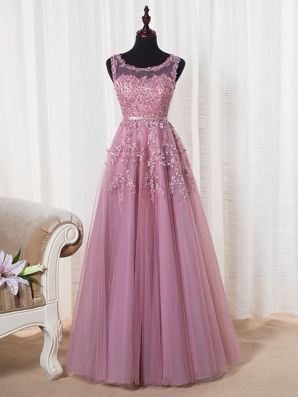 A-line Scoop Neck Tulle Floor-length Appliques Lace Graceful Bridesmaid Dresses #DOB010020102804