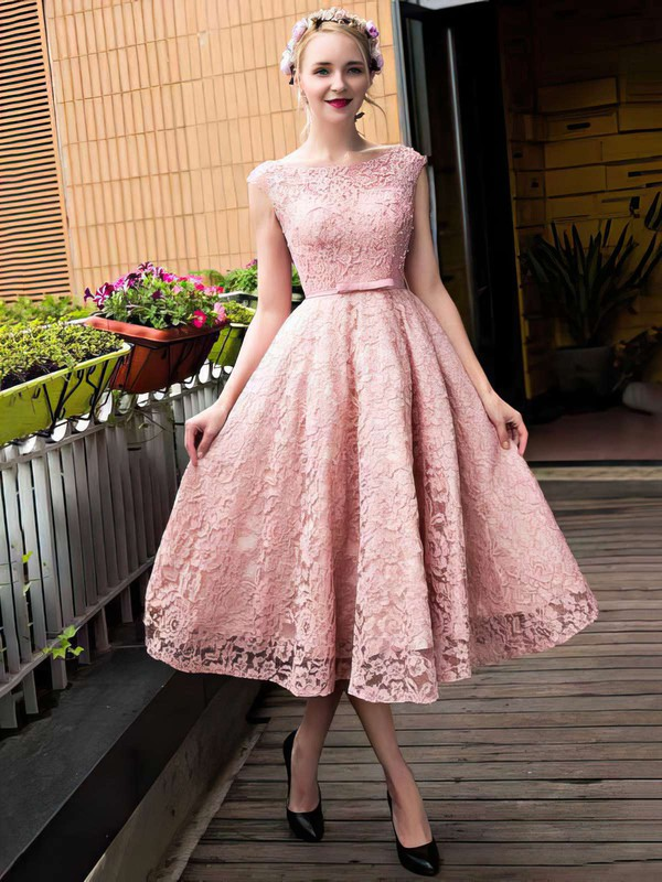 A-line Scoop Neck Lace Tea-length Sashes / Ribbons  Lace-up Sweet Bridesmaid Dresses #DOB010020102877