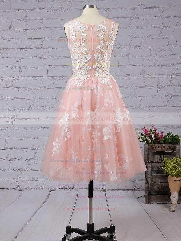 Ball Gown Scoop Neck Tulle Tea-length Appliques Lace Boutique Bridesmaid Dresses #DOB010020103045