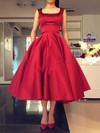 Ball Gown Square Neckline Satin Tea-length Bow Backless Simple Bridesmaid Dresses #DOB010020103061