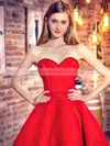 Classic Princess Sweetheart Satin Asymmetrical Ruffles Red High Low Bridesmaid Dresses #DOB010020103199