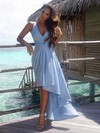 A-line V-neck Chiffon Asymmetrical Sashes / Ribbons High Low Informal Bridesmaid Dresses #DOB010020103203