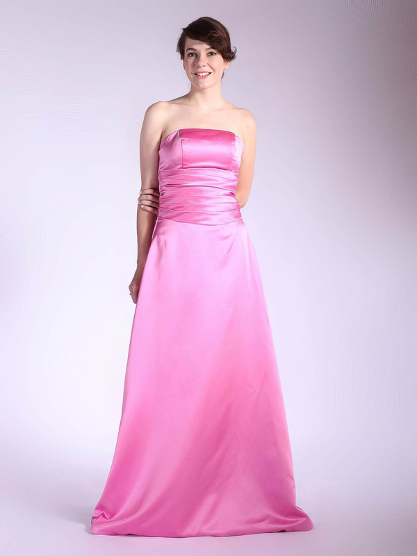Strapless A-line Floor-length Satin Pleats Bridesmaid Dresses #DOB01012036