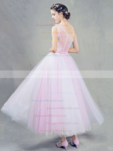 Ball Gown One Shoulder Tulle Ankle-length Sashes / Ribbons Pink Sweet Bridesmaid Dresses #DOB010020103243