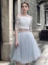 Girls Princess Off-the-shoulder Lace Tulle Knee-length Ruffles Two Piece 1/2 Sleeve Bridesmaid Dresses #DOB010020103308
