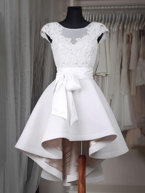 A-line Scoop Neck Satin Tulle Asymmetrical Appliques Lace Cap Straps High Low Original Bridesmaid Dresses #DOB010020103433