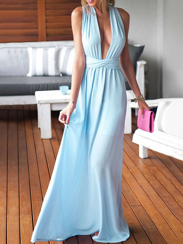 Sheath/Column V-neck Chiffon Floor-length Ruffles Blue Backless Sexy Bridesmaid Dresses #DOB010020103552