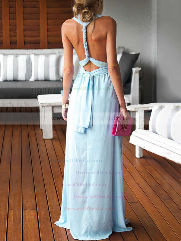 Sheath/Column V-neck Chiffon Floor-length Ruffles Blue Backless Sexy Bridesmaid Dresses #DOB010020103552