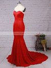 Top Trumpet/Mermaid Sweetheart Silk-like Satin Sweep Train Ruffles Red Backless Bridesmaid Dresses #DOB010020103568