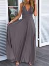 A-line V-neck Chiffon with Ruffles Floor-length Backless Informal Bridesmaid Dresses #DOB010020103579