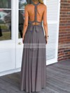 A-line V-neck Chiffon with Ruffles Floor-length Backless Informal Bridesmaid Dresses #DOB010020103579