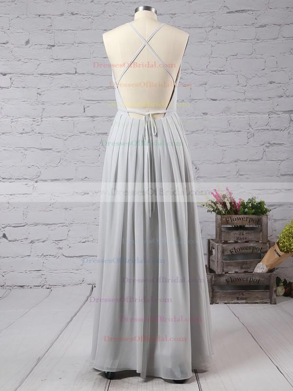 Sheath/Column V-neck Chiffon Floor-length Split Front Backless Hot Bridesmaid Dresses #DOB010020103583