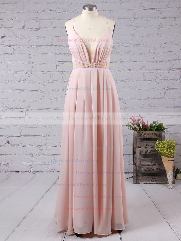Sheath/Column V-neck Chiffon Floor-length Split Front Backless Hot Bridesmaid Dresses #DOB010020103583