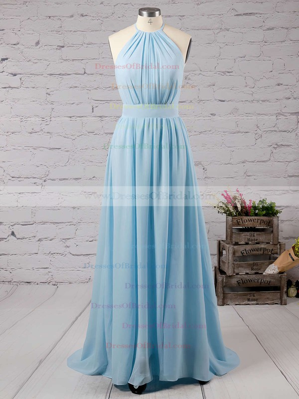 Summer A-line Halter Chiffon Floor-length Split Front Backless Bridesmaid Dresses #DOB010020103638