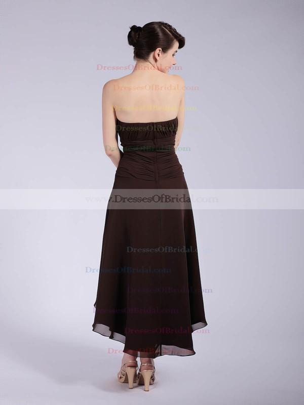 Strapless A-line Asymmetrical Chiffon Pleats Bridesmaid Dresses #DOB01012039