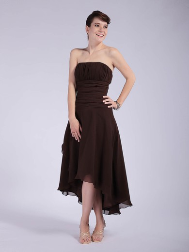 Strapless A-line Asymmetrical Chiffon Pleats Bridesmaid Dresses #DOB01012039