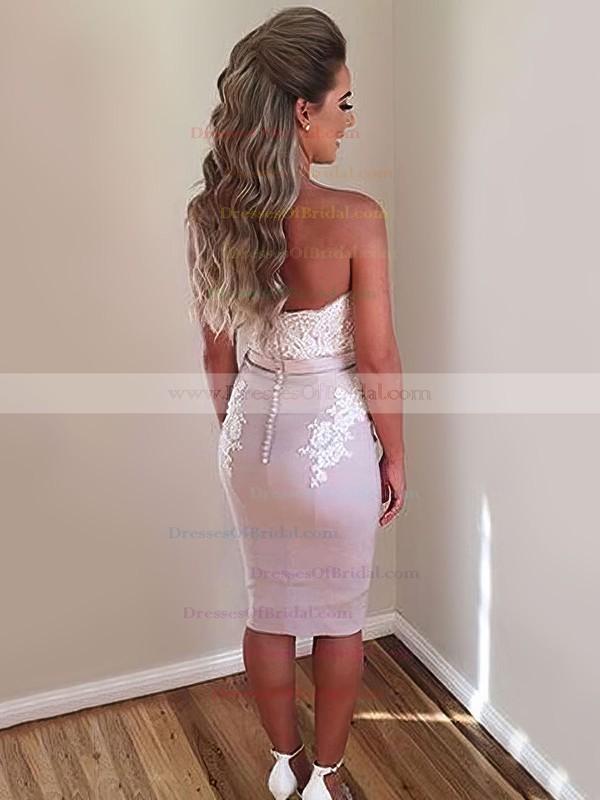 Sheath/Column Off-the-shoulder Silk-like Satin Knee-length Appliques Lace Different Bridesmaid Dresses #DOB010020103674