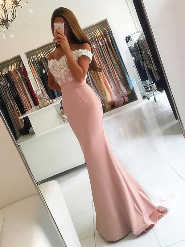 Trumpet/Mermaid Off-the-shoulder Tulle Silk-like Satin Sweep Train Appliques Lace Backless Latest Bridesmaid Dresses #DOB010020103721