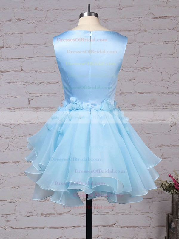 A-line Scoop Neck Satin Tulle Short/Mini Flower(s) Original Bridesmaid Dresses #DOB010020103777
