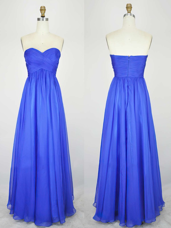 Empire Sweetheart Chiffon Floor-length with Pleats Bridesmaid Dresses #DOB010020104239