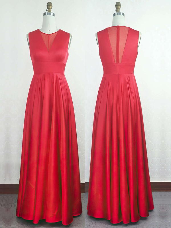 A-line Scoop Neck Silk-like Satin Floor-length with Ruffles Bridesmaid Dresses #DOB010020104297