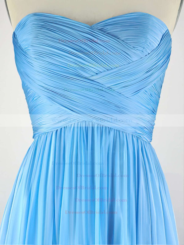 A-line Sweetheart Chiffon Sweep Train with Pleats Bridesmaid Dresses #DOB010020104304