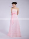 Strapless A-line Floor-length Chiffon Sashes/Ribbons Bridesmaid Dresses #DOB01012040