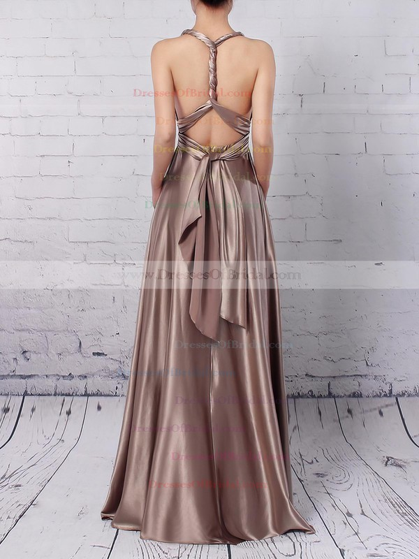 A-line V-neck Silk-like Satin Ankle-length with Ruffles Bridesmaid Dresses #DOB010020104433