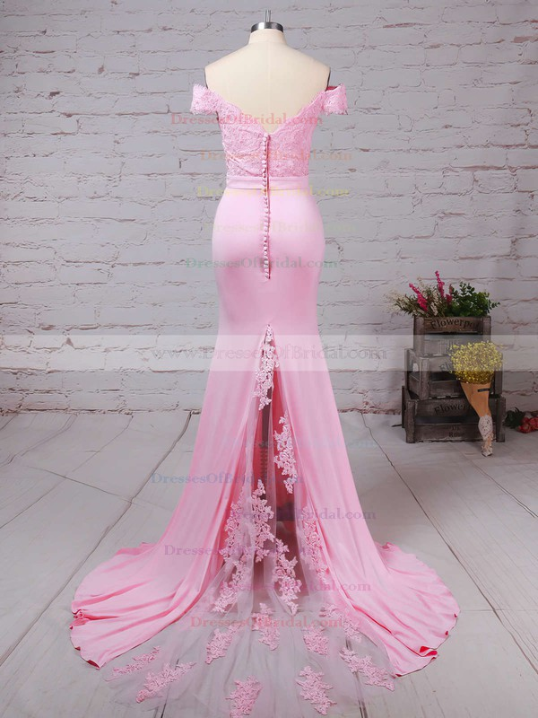 Trumpet/Mermaid Off-the-shoulder Tulle Silk-like Satin Sweep Train with Sashes / Ribbons Bridesmaid Dresses #DOB010020104517
