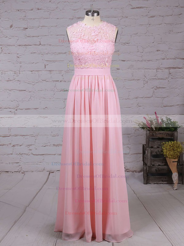 Affordable A-line Scoop Neck Lace Chiffon Floor-length Bridesmaid Dresses #DOB010020104579